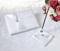 White Lace Wedding Guest Book And Pen Set